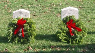 Wreaths laid at the headstones of Civil War soldiers
